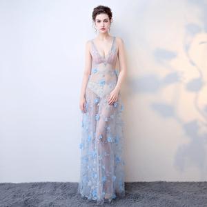 性感透视装网纱蕾丝V领女装修身包臀夜场长款演出晚礼服车模长裙