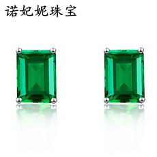 新品祖母绿宝石长方形耳环925纯银镀18K金绿碧玺耳钉日韩甜美耳饰