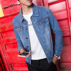春秋季男士牛仔外套修身夹克男韩版简单款学生复古上衣服褂子潮流