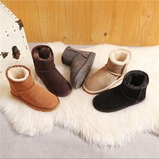 反季清仓防水真牛皮雪地靴女冬季短筒皮毛一体中筒鞋防滑保暖棉鞋