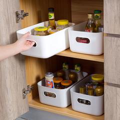 家用塑料收纳筐3个装卫生间化妆品收纳整理盒厨房桌面杂物收纳盒