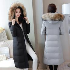 羽绒服女中长款过膝修身外套貉子毛领大码韩版清仓特价加厚冬装暖