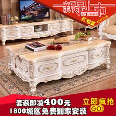 欧式大理石茶几电视柜 全实木雕花茶几客厅电视柜组合描金银茶桌
