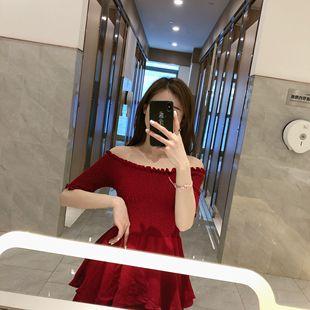 夏季网红同款连衣裙女港味纯色时尚百搭显瘦雪纺棉麻一字肩长裙