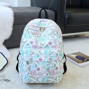新款帆布时尚学生背包印花书包高中生双肩包女包潮流学院风旅行包