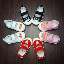 软底防滑春秋男童女童小白鞋 浅口儿童帆布鞋 幼儿园室内鞋 宝宝布鞋