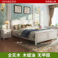 美式实木床白色全家具床现代简约1.8米主卧大床婚床美式床双人床