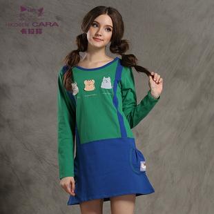 卡拉猫女装纯棉宽松舒适可爱贴布圆领长袖背带裙连衣裙促销