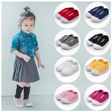 韩版宝宝帆布鞋女1-3岁软底韩版幼儿园鞋儿童一脚蹬小白鞋室内鞋