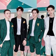 夏季韩版 帅气潮流修身 pop男装 双排扣西服男套装 条纹英伦风两件套