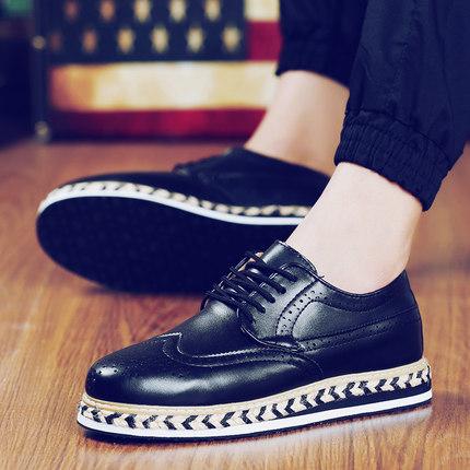 夏季男士皮鞋休闲男鞋子豆豆英伦风格潮流夏天松糕潮鞋布洛克秋季