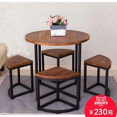 铁艺实木阳台桌椅五件套创意休闲洽谈小圆桌奶茶店咖啡厅桌椅组合