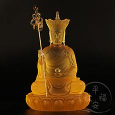 琉璃地藏菩萨 地藏王 娑婆三圣 大愿地藏王菩萨 琉璃菩萨佛像摆件