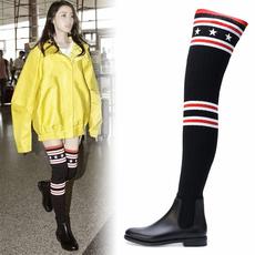 长靴女过膝瘦腿袜子靴弹力靴平底鞋休闲潮韩版秋冬新款毛线长筒靴