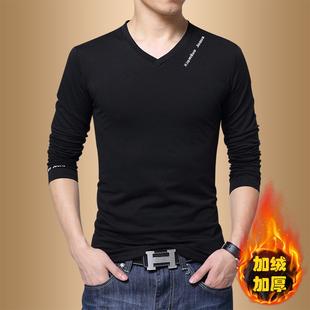 秋季男士长袖t恤V领韩版青年上衣打底衫加绒新款卫衣男秋衣服潮流