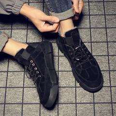 冬季男鞋子百搭潮鞋加绒保暖休闲皮鞋韩版潮流低帮马丁靴男士棉鞋