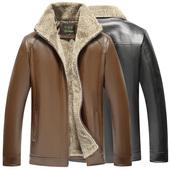 男装皮夹克加绒加厚男士皮衣冬季防风保暖仿真皮宽松皮大衣男外套