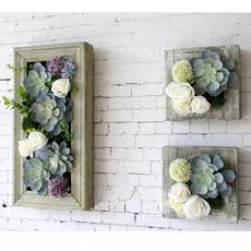 欧式田园创意家居仿真花立体壁饰多肉壁挂植物画客厅背景墙装饰画