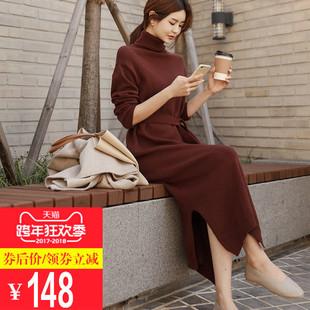毛衣连衣裙秋冬长款韩版宽松系带针织连衣裙中长款高领毛衣裙加厚