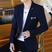 小西装男青少年韩版潮流修身秋季外套男士休闲西服网红单件上衣服