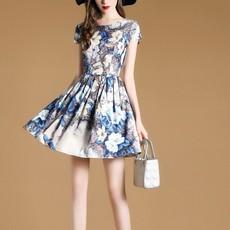 丹慕妮尔2017夏装新款通勤短袖印花连衣裙花色修身显瘦A字裙7071A