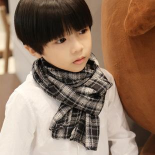 韩版棉麻格子儿童围巾英伦风时尚百搭男女童围巾围脖秋冬宝宝围巾