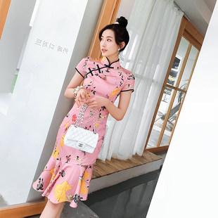 2019夏款新式中国风旗袍年轻款少女性感改良版鱼尾连衣裙中长款女