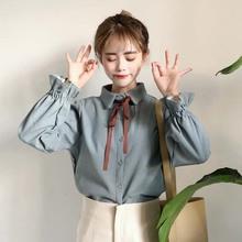 学生小清新上衣加绒长袖 韩版 打底衬衫 秋冬新款 蝴蝶结系带喇叭袖