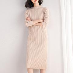 半高领中长款打底毛衣裙女2018新款韩版宽松内搭过膝针织连衣裙冬