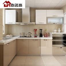 成都整体橱柜定制 烤漆厨柜定做简约石英石台面一字型开放式厨房