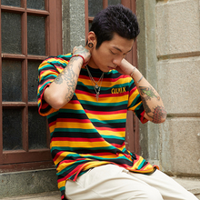 Culmix large rainbow T-shirt Panya same striped loose Bboy short sleeved woman hiphop undercoat Chao man