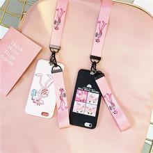 网红粉红豹织带 苹果5手机壳4/4s硅胶软壳iphone5s/5se卡通外壳潮