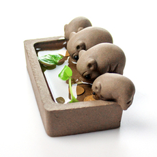 小猪喝水丰衣足食精品紫砂段泥茶玩可养茶宠茶盘摆件茶艺茶具配件