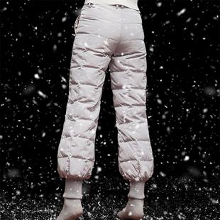 2018歐洲站新款英倫羽絨褲女外穿高腰加厚燈籠長褲加大碼男女棉褲