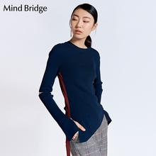 Mind Bridge百家好女装针织衫秋冬圆领修身 不规则下摆 MRKT721C