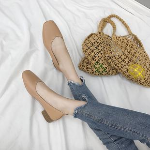秋季新款韩版粗跟单鞋女浅口方头复古奶奶鞋学生懒人鞋中跟小皮鞋