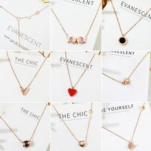 钛钢项链女锁骨链不掉色闺蜜生日礼物简约韩版 玫瑰金网红新款 颈链