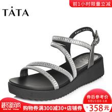 Tata/他她2018夏专柜同款牛皮拼接亮片布罗马鞋女凉鞋FAF17BL8