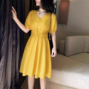 棉麻连衣裙2019新款夏季甜美气质收腰显瘦很仙的法国小众桔梗裙子