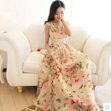沙滩裙泰国海边度假波西米亚长裙夏雪纺碎花显瘦海滩女裙子连衣裙