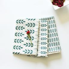 壹贰 清新树叶图案布艺餐垫餐巾 盖布厨房巾美食拍照背景布烘焙布