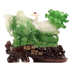 福到财神到弥勒佛像玉白菜摆件大号现代中式家居饰品开业搬家礼物