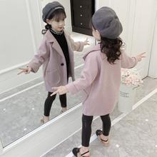 女童呢子外套秋冬装2018新款韩版洋气女孩中长款儿童加厚毛呢大衣
