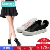 【清仓特卖】天美意秋专柜同款牛皮织物兔毛皮女休闲鞋AQ571CM7