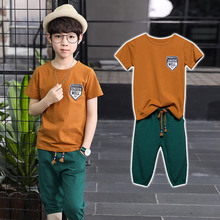 Children's Summer Boys'Suit 2019 New Children's Summer Cotton and Hemp Two-piece Suit