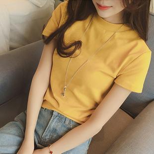 夏季新款白色t恤女修身半高领短袖韩版简约女装纯棉打底衫上衣潮