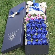 蓝色妖姬礼盒玫瑰花生日表白北京同城鲜花速递上海深圳 全国送花