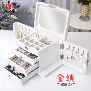 复古首饰盒欧式公主实木质带锁结婚珠宝盒饰品收纳盒简约生日礼物木质首饰盒