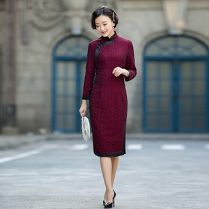 秋冬针织旗袍 修身显瘦保暖[山香]中长款长袖改良旗袍裙 逸红颜旗袍