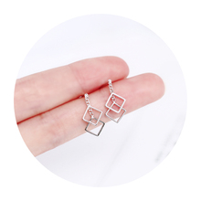 Brief handmade pure silver earrings for students